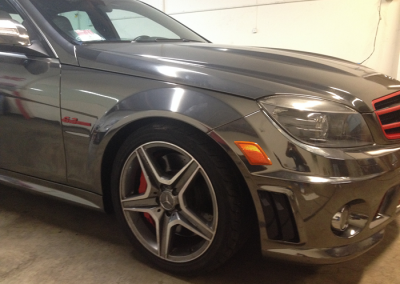 2009 C63 AMG Black Chrome Vinyl Wrap