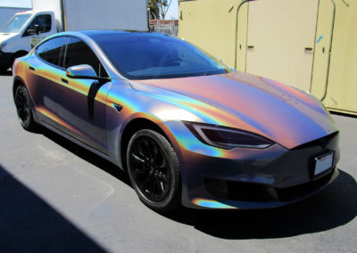 Tesla Model S Rainbow Chrome Color Flip